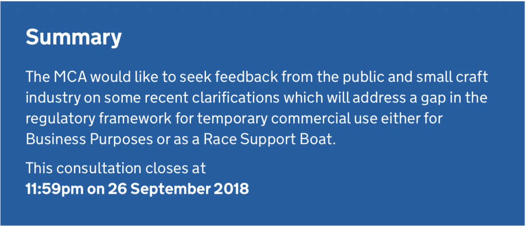 Have your say on the Maritime & Coastguard Agency's new Code of Practice for Intended Pleasure Vessels