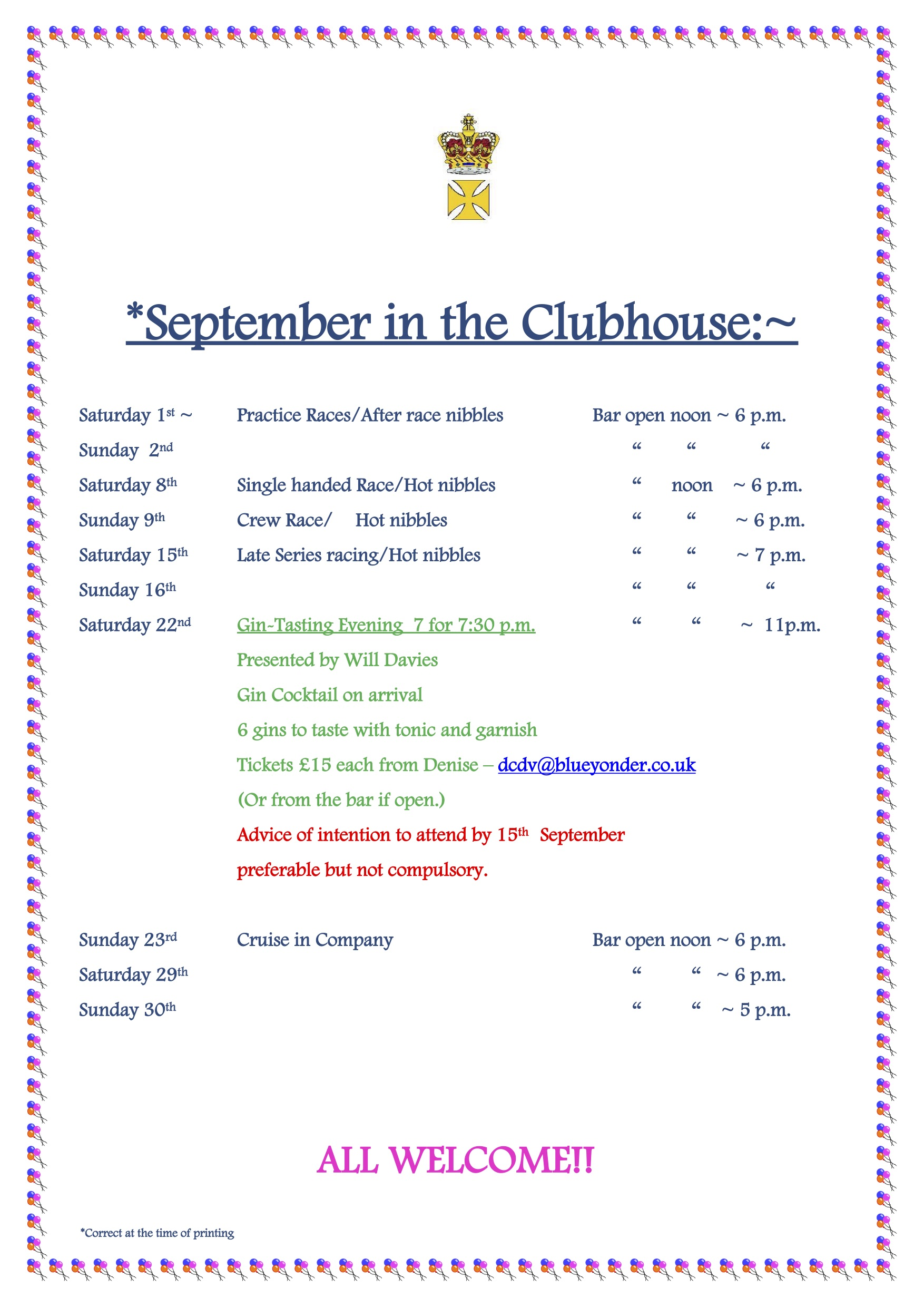 September in the Clubhouse…